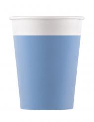 8 bicchieri in cartone compostabile celesti