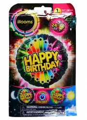 Palloncino alluminio Happy Birthday LED Illooms®