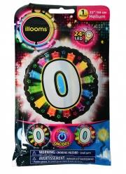 Palloncino alluminio cifra 0 multicolore LED Illoms™