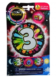 Palloncino alluminio cifra 3 multicolore LED Illoms™