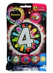 Palloncino alluminio cifra 4 multicolore LED Illoms™