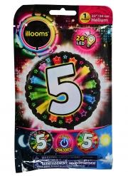 Palloncino alluminio cifra 5 multicolore LED Illoms™