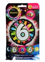 Palloncino alluminio cifra 6 multicolor LED Illooms®