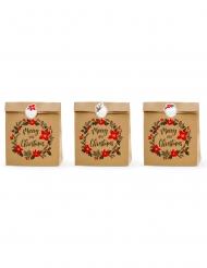 3 sacchetti regalo kraft Merry Little Christmas