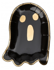 8 piatti in cartone fantasmino nero e oro