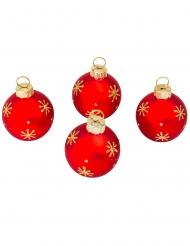 4 segnaposto palline di Natale rosse e oro