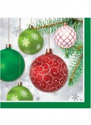 16 tovaglioli di carta palline rosse e verdi