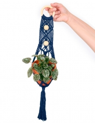 Kit sospensione per piante in macramé blu