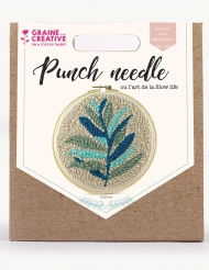 Kit cucito Punch Needle foglie verdi