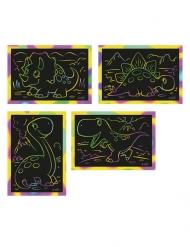 4 cartoline da grattare dinosauro