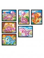 6 cartoline olografiche con mosaico dinosauri