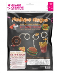 Kit plastica termoretraibile per 6 portachiavi Junk Food