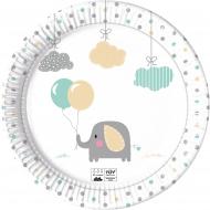 8 piatti in cartone piccolo elefante 23 cm