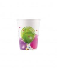 8 bicchieri in cartone palloncini multicolor