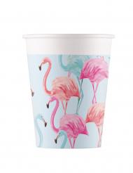 8 bicchieri in cartone fenicotteri colorati