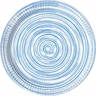 8 piatti in cartone cerchi blu 23 cm