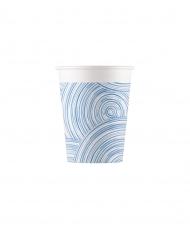 8 bicchieri in cartone cerchi blu