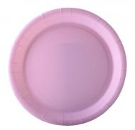 10 piatti in cartone rosa pastello 22 cm