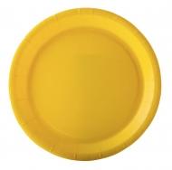 10 piatti in cartone gialli 22 cm
