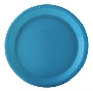 10 piatti in cartone turchesi 22 cm