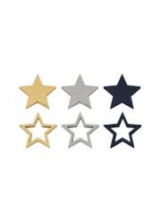 12 coriandoli in legno stelle blu e oro