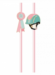 10 cannucce in cartone rosa cavallo