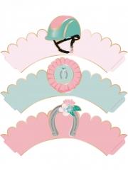 6 decorazioni per cupcakes rosa cavallo