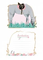 8 inviti per festa rosa cavallo