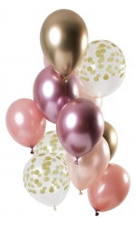 12 palloncini in lattice mix oro rosa e dorato