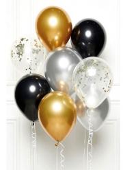 Kit 8 palloncini oro neri e argento con nastri