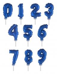 Decorazione torta palloncino con numero blu