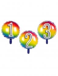 Palloncino rotondo con numero multicolor