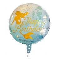 Palloncino alluminio Happy Birthday sirenetta