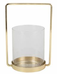 Portacandele in vetro e cornice dorata