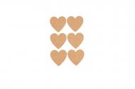 6 Etichette adesive cuore in sughero 7,5 x 4,5 cm