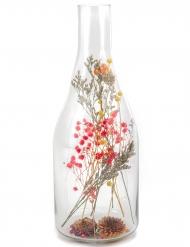 Bottiglia con fiori secchi colorati 12 x 32 cm
