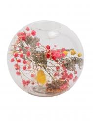 Portacandela trasparente con fiori secchi colorati