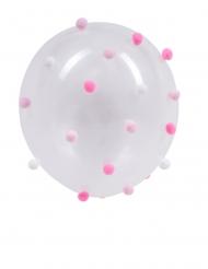 5 palloncini trasparenti con ponpon rosa e bianchi