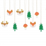 12 etichette in cartone foresta di Natale