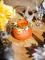 Vaso di vetro color pesca con rafia-1
