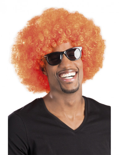 Parrucca stile afro disco arancione