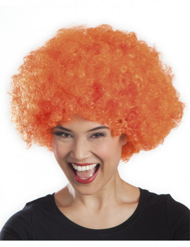 Parrucca stile afro disco arancione-1