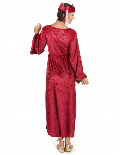 Costume da donna regina medievale rosso-2