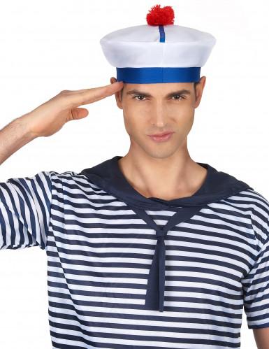 Cappello da marinaio per adulti con pompom-1