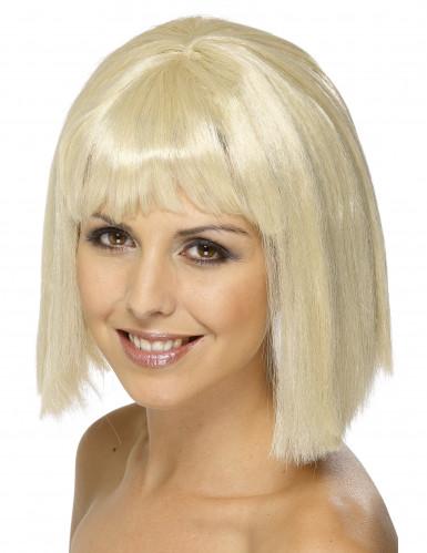 Parrucca caschetto biondo con frangia donna