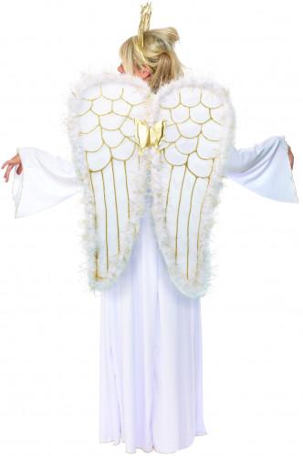 Costume per donna da angelo del bianco Natale-1