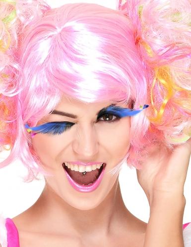 Ciglia finte blu con piume multicolori