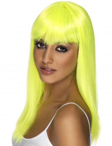 Parrucca da donna gialla fluorescente