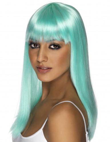 1 parrucca blu turchese liscia capelli lunghi