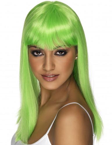 Parrucca glamour da donna color verde fluo